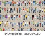 multiethnic casual people... | Shutterstock . vector #269039180
