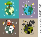 four flat ecology background.... | Shutterstock .eps vector #269051048