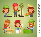 farmers at spring work set. in... | Shutterstock .eps vector #269053508