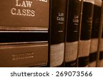 law cases and law books on a... | Shutterstock . vector #269073566
