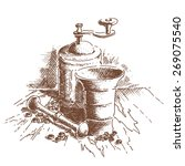 antique household grinder  ... | Shutterstock .eps vector #269075540