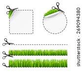 vector scissors cut sticker.... | Shutterstock .eps vector #269094380