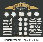 retro ribbons with grunge... | Shutterstock .eps vector #269112143