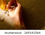 dead man's hand with stitches... | Shutterstock . vector #269141564