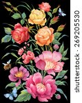 bouquet of roses and peonies... | Shutterstock . vector #269205530