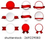 set of red ribbons and award... | Shutterstock .eps vector #269229083