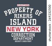 rikers new york jail typography ... | Shutterstock .eps vector #269232500