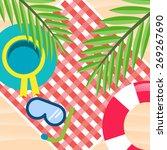 summer time beach vector... | Shutterstock .eps vector #269267690