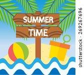 summer time beach vector... | Shutterstock .eps vector #269267696