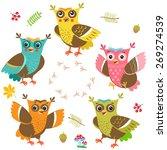 owlet baby vector. cartoon owls ... | Shutterstock .eps vector #269274539