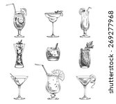Vector hand drawn set of cocktails and alcohol drinks. Sketch. | Shutterstock vector #269277968
