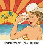 comic illustration of girl  on... | Shutterstock . vector #269281100
