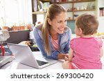 mother with young daughter... | Shutterstock . vector #269300420