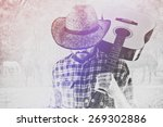Small photo of Cowboy Farmer with Acoustic Blues Guitar and Straw Hat on Western American Horse Ranch, Double Exposure Image.