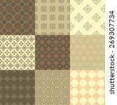 set of nine vector seamless... | Shutterstock .eps vector #269307734