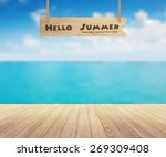 beautiful sea view and wood... | Shutterstock .eps vector #269309408