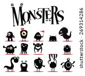 a lot of vector black monsters | Shutterstock .eps vector #269314286