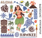 vector vintage set of hawaiian... | Shutterstock .eps vector #269326598