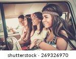 multi ethnic hippie friends on... | Shutterstock . vector #269326970