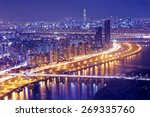 seoul tower and downtown... | Shutterstock . vector #269335760