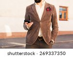 brutal man with a mustache and... | Shutterstock . vector #269337350