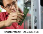 young asian shop owner working... | Shutterstock . vector #269338418