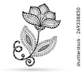 henna paisley mehndi doodles... | Shutterstock .eps vector #269338850