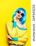 bright glamorous girl in vivid...   Shutterstock . vector #269343233