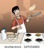 young male making pancakes in... | Shutterstock .eps vector #269356883