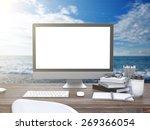 3d illustration pc screen on...   Shutterstock . vector #269366054