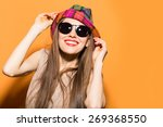 smiling summer woman with hat... | Shutterstock . vector #269368550