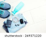 pair of sport shoes and fitness ... | Shutterstock . vector #269371220
