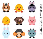 set of cute farm animals on...   Shutterstock .eps vector #269388830