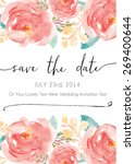 Stock vector save the date watercolor vector invitation 269400644