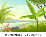 grassy land by the lake | Shutterstock .eps vector #269407448