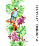 tropical leaves  exotic parrot... | Shutterstock . vector #269437859