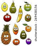 happy apple  banana  orange ... | Shutterstock .eps vector #269438156