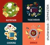 healthy fresh food flat concept ...   Shutterstock .eps vector #269441504