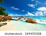 beautiful beach at seychelles ... | Shutterstock . vector #269455208