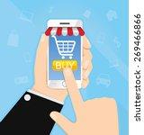 internet online shopping hand... | Shutterstock .eps vector #269466866