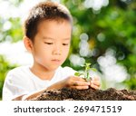 thin focus on hand of child... | Shutterstock . vector #269471519