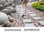 Woman Walk Alone On Way Brick...