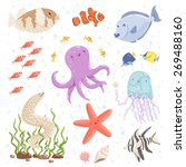 marine life cartoon characters...   Shutterstock .eps vector #269488160