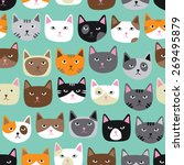 Stock vector cute cat faces seamless repeating pattern 269495879