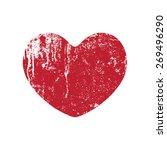 grunge heart red  vector... | Shutterstock .eps vector #269496290