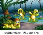 Three Turtles Living In The Pond