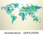 blue map of the world with... | Shutterstock .eps vector #269514590