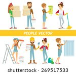 vector people with paint and... | Shutterstock .eps vector #269517533