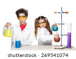 two cute children at chemistry... | Shutterstock . vector #269541074