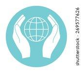 hands holding earth.   Shutterstock .eps vector #269577626
